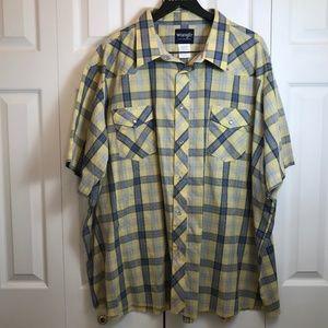 VTG Wrangler Yellow Plaid Snap Front S/S Shirt 4X